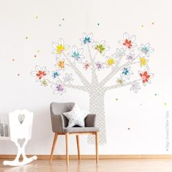 Sticker arbre geant baobab à petits pois