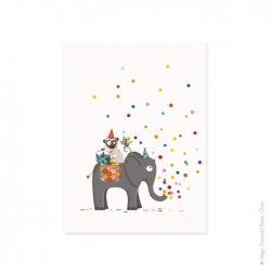 Affiche animaux et pluie de confettis multicolore. Rouge vert bleu rose... Pour fille ou garçon.