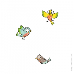 3 oiseaux, stickers pour compléter une décoration de chambre.