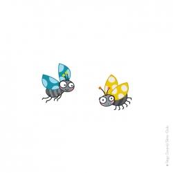 Coccinelles bleue et jaune. animaux de la campagne. Stickers colorés et rigolos.