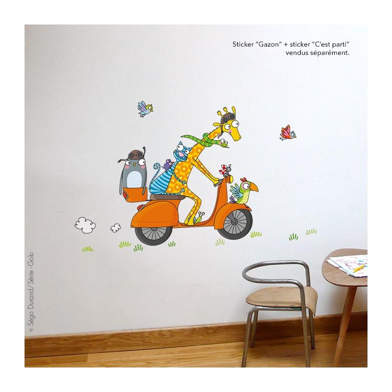 """Idéal pour compléter une illustration au centre de votre mur, au-dessus de vos meubles. Présenté ici avec """"c'est parti""""."""