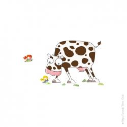 Sticker pour chambre d'enfant. Vache. Campagne.