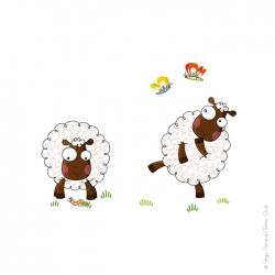 Autocollant moutons. Joie et bonne humeur tous les matins.