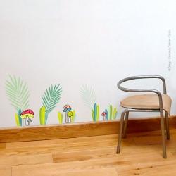 Thème campagne et fleur. Un décor pour fille ou garçon. l'illustration est composée de plusieurs détails.