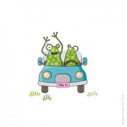 Sticker grenouille en voiture.