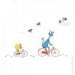 Une balade en vélo. Sticker pour enfant. oiseaux chat et tortue.