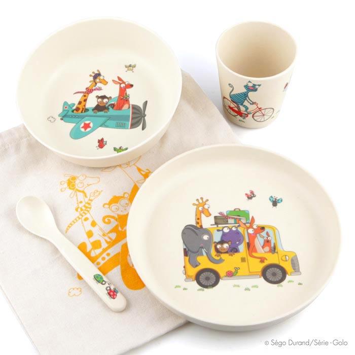 Set repas bébé. Assiette, bol, verre, cuillère et pochette en coton