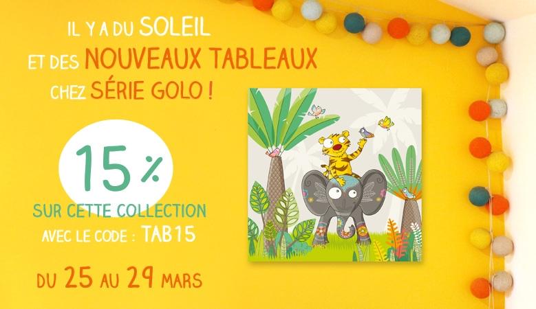 15% de réduction sur la nouvelle collection de tableaux enfant Sérei Golo
